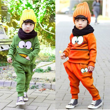 2 Pcs Baby Kid Unisex Suits Tracksuit Smiling Face Cotton Top Harem Pant Outfit](Two Face Suit)