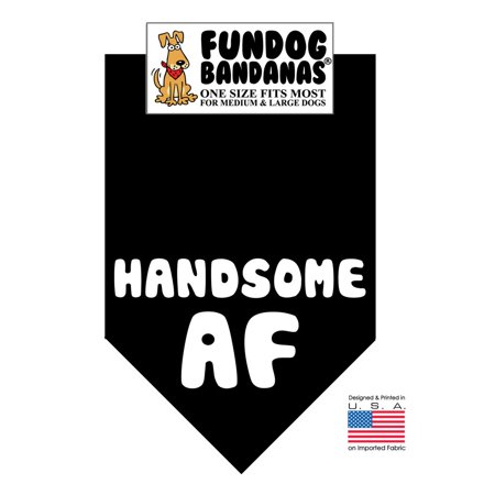 Fun Dog Bandana -Handsome AF - One Size Fits Most for Medium to Large Dogs, black pet (Dog Bandanna)