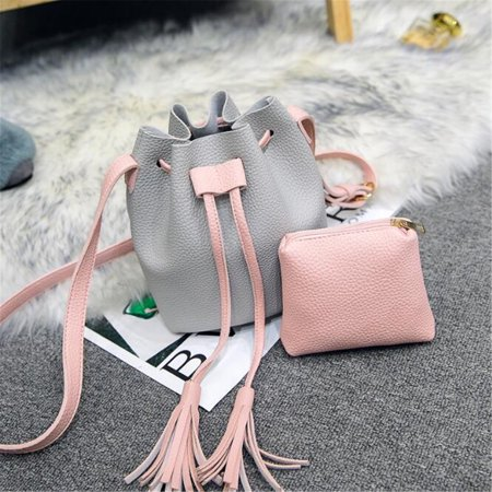 2pcs Set Bucket Bag for Women Small Crossbody Purse and Shoulder Bag Suede Tote