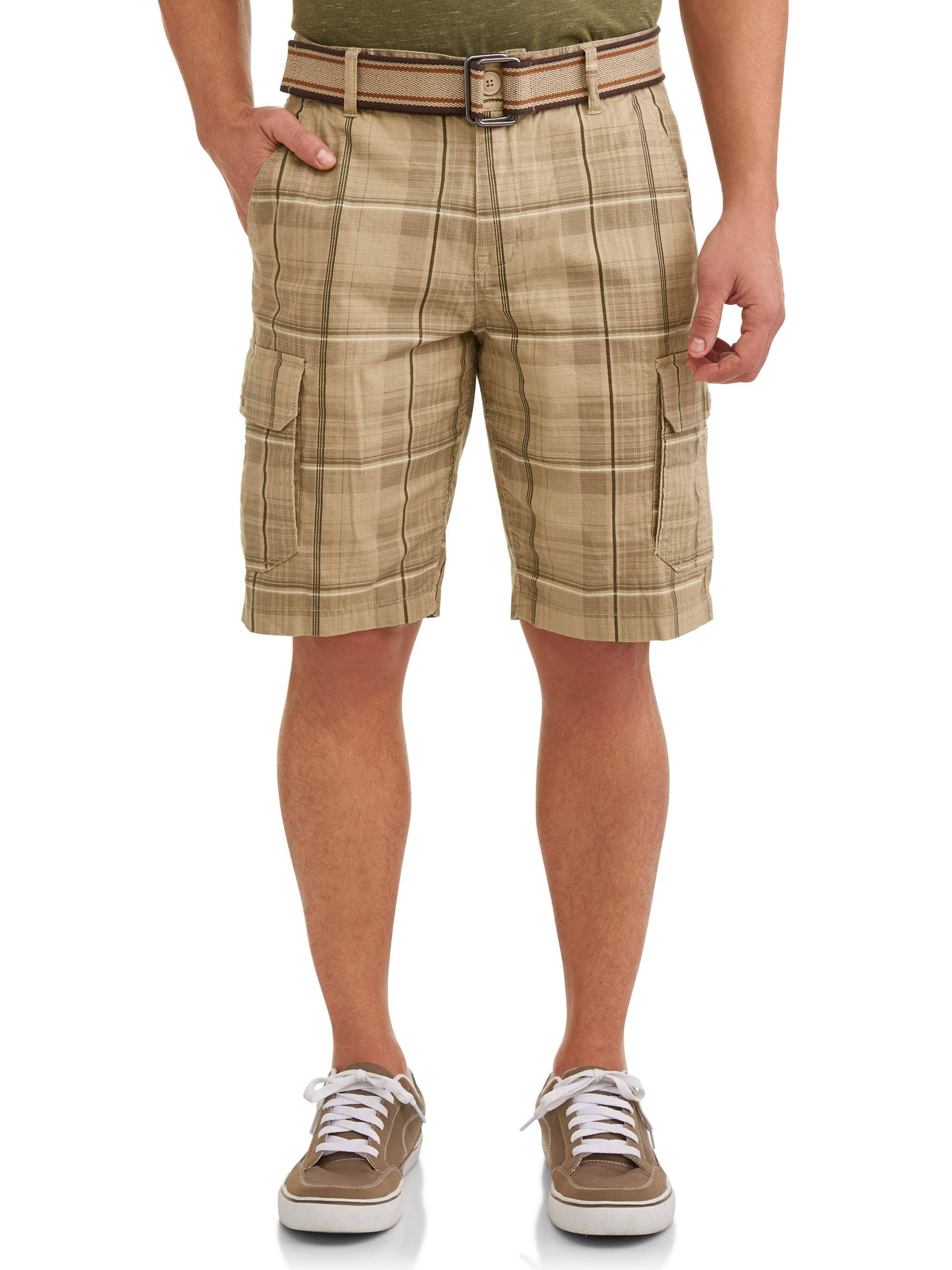 Men's Stretch Ripstop Belted Cargo Shorts