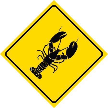 Plastic Lobster (Yellow Diamond Caution Lobster Crossing Signs Commercial Plastic Square Sign,)