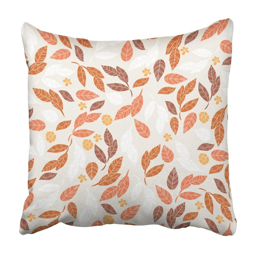 BPBOP Brown Fall Of Leaves And Flowers Manufacturing And Gray Abstract Color Autumn Beautiful Pillowcase 16x16 inch