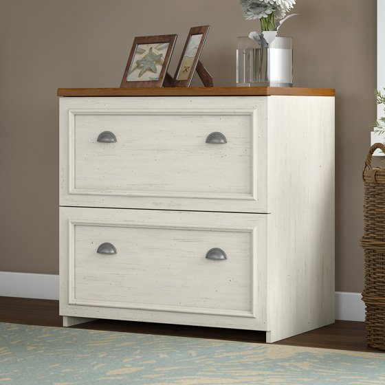 Bush Furniture Fairview Lateral File Cabinet in Antique White - Bush Furniture Fairview Lateral File Cabinet In Antique White