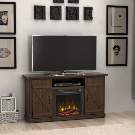 terryville saw cut espresso fireplace tv stand for tvs up to 55. Black Bedroom Furniture Sets. Home Design Ideas