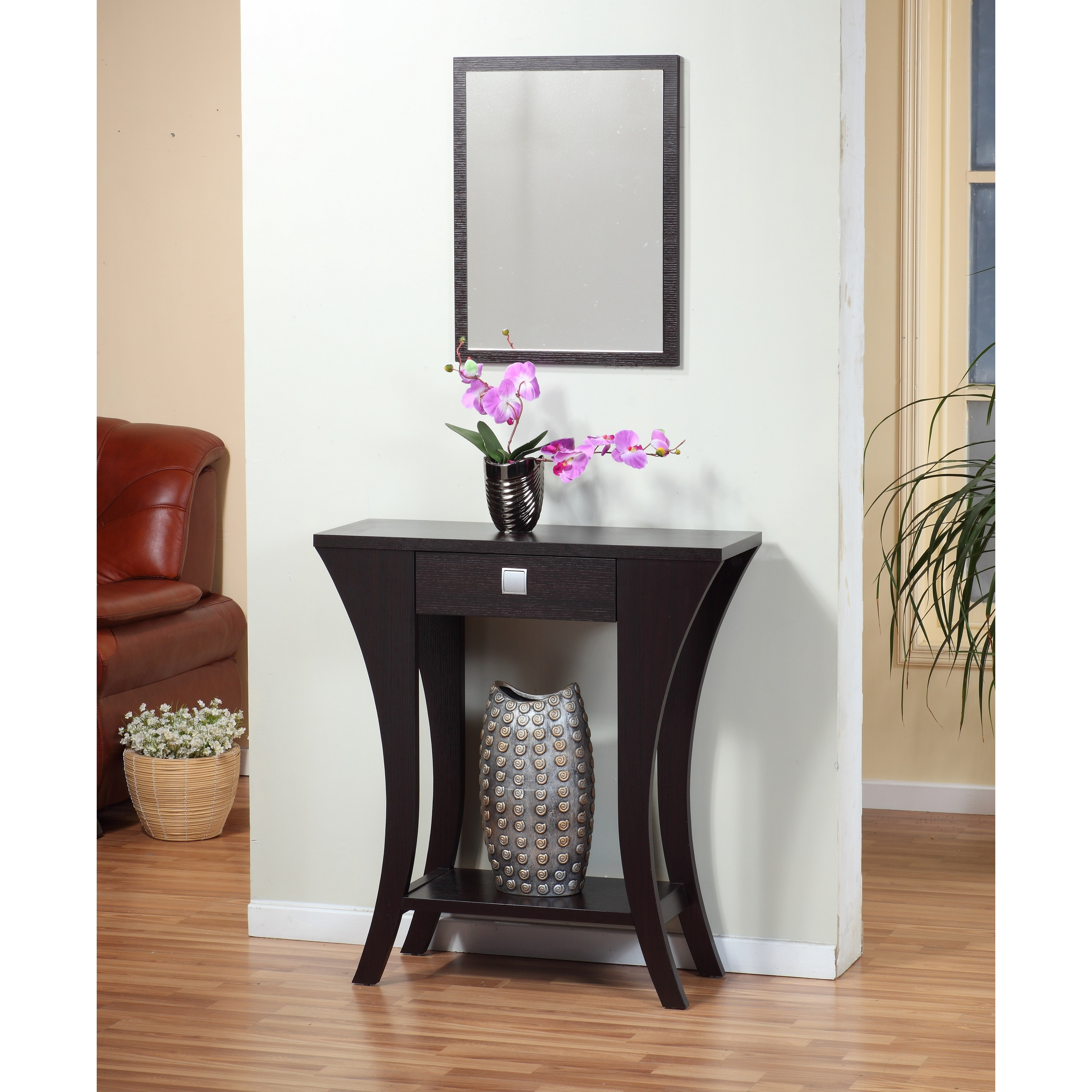 Oh cappuccino finish console sofa entry table with drawer oh cappuccino finish console sofa entry table with drawer walmart geotapseo Image collections