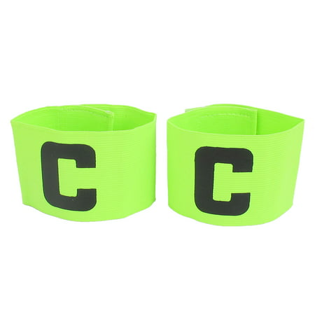 C Printed Elastic Tension Soccer Leader Player Captain Armband Yellow Green - Soccer Player Photo