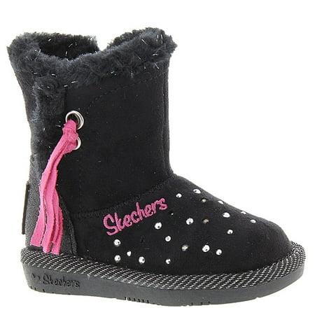 Skechers Infant Toddler Girls Twinkle Toes Glamslam Tassle Tootsies Boot Black