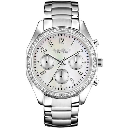 Caravelle Women's Chronograph Stainless Steel Case and Bracelet Pearl Dial White Watch - 43L159 Chronograph Full Pvd Case
