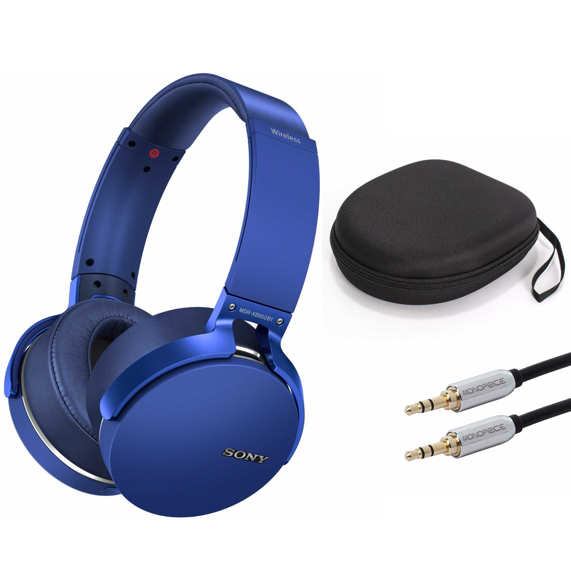 Sony XB950B1 Extra Bass Wireless Headphones (Blue) with Case and 3.5mm Cable