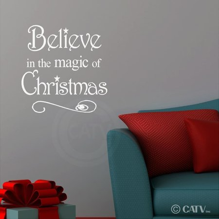 Believe in the Magic of Christmas vinyl wall art decals sayings words lettering quotes home decor (White, 10.2x10.2)