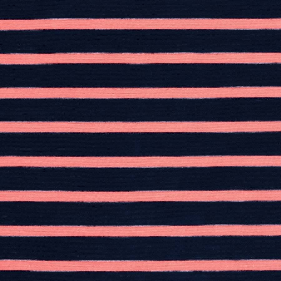 SHASON TEXTILE (3 Yards cut) CLASSIC SEW YARN DYED STRIPE FABRIC, NAVY / CORAL