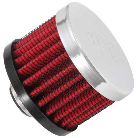 Chrome Crankcase - K&N Engineering 62-1320 Rubber Base Crankcase Vent Filter - 3/8in. Flange - Chrome End Cap
