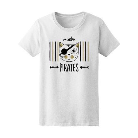 Cute Pirate Cat, Funny Graphic Tee Women's -Image by Shutterstock (Funny Cat Images)