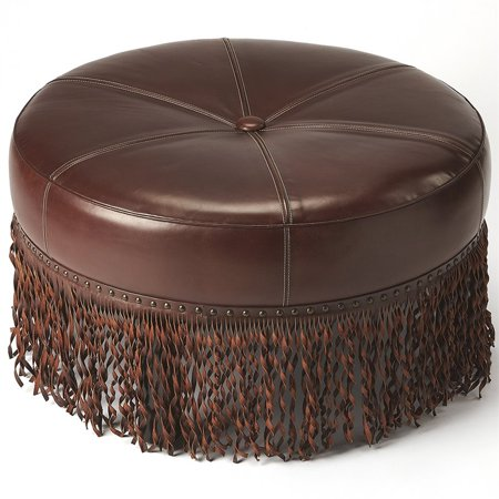 Butler Specialty 32 Quot Round Leather Ottoman In Chestnut