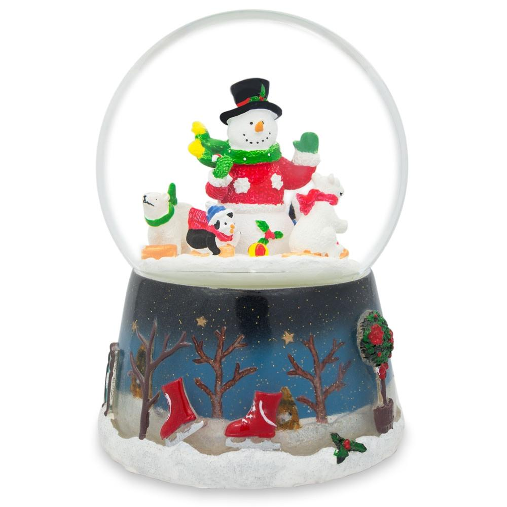 "5.5"" Snowman with Polar Bears and Penguins Animated Rotating Musical Globe"