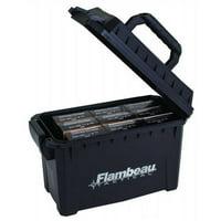 "Flambeau 6415SB Compact Ammo Can 9.75"" L x 4.75"" W x 6"" D 6-9 20-rd boxes 223/5.56 Polymer Black"
