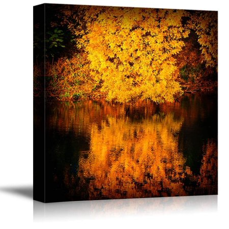 Canvas Prints Wall Art - Autumn Trees Covered with Yellow Foliage Reflected in The Water Nature Beauty | Modern Wall Decor Stretched Gallery Canvas Wrap Giclee Print & Ready to Hang - 16