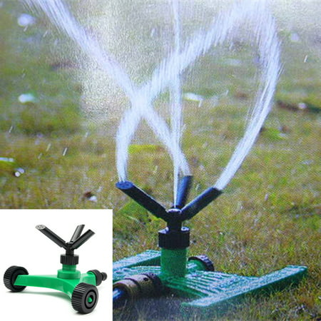 Garden Sprinkler System - 3-Arm Adjustable Garden Lawn Sprinkler 360° Rotating Water Sprinkler Irrigation System with Wheel Covering Large Area 50 feet