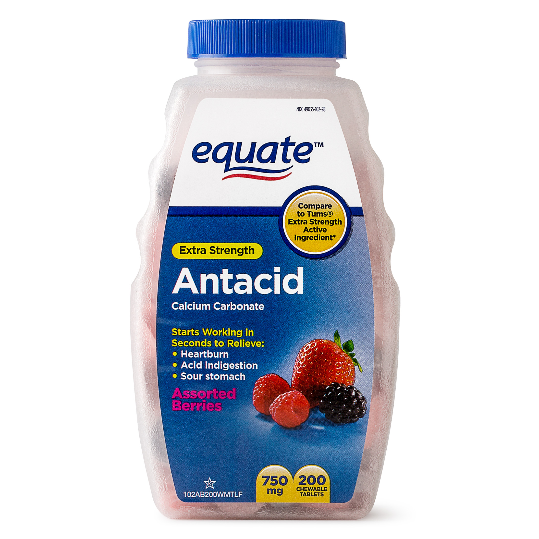 Equate Extra Strength Antacid Assorted Berries Chewable Tablets, 750 mg, 200 Count