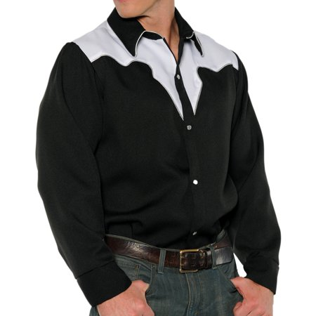 Black White Fancy Western Rodeo Cowboy Adult Mens Costume Shirt - Cowboys Costume