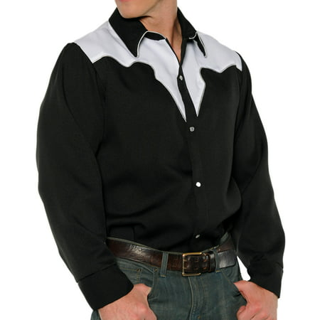 Black White Fancy Western Rodeo Cowboy Adult Mens Costume Shirt - Western Barmaid Costume