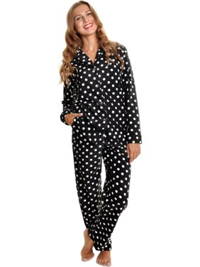 Angelina Black & White Polka Dots Fleece Long Sleeve Pajama Set w/ Long PJs NEW