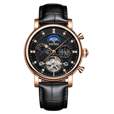 KINYUED Luxury 3ATM Water-Proof Automatic Mechanical Watch Genuine Leather Skeleton Man Business Wristwatch Chrono/Moon Phase/Week/Calendar + Box