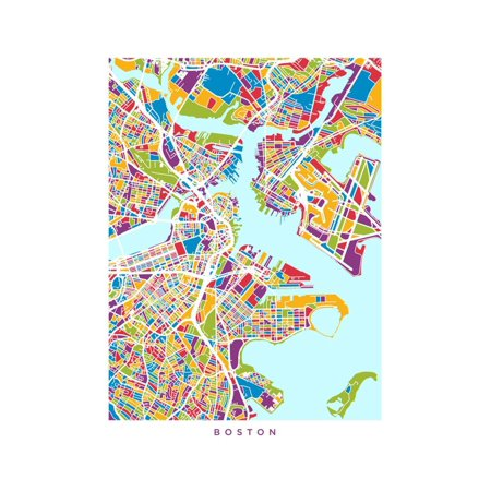 Boston Massachusetts City Street Map Print Wall Art By Michael (Street Wall Map Port)