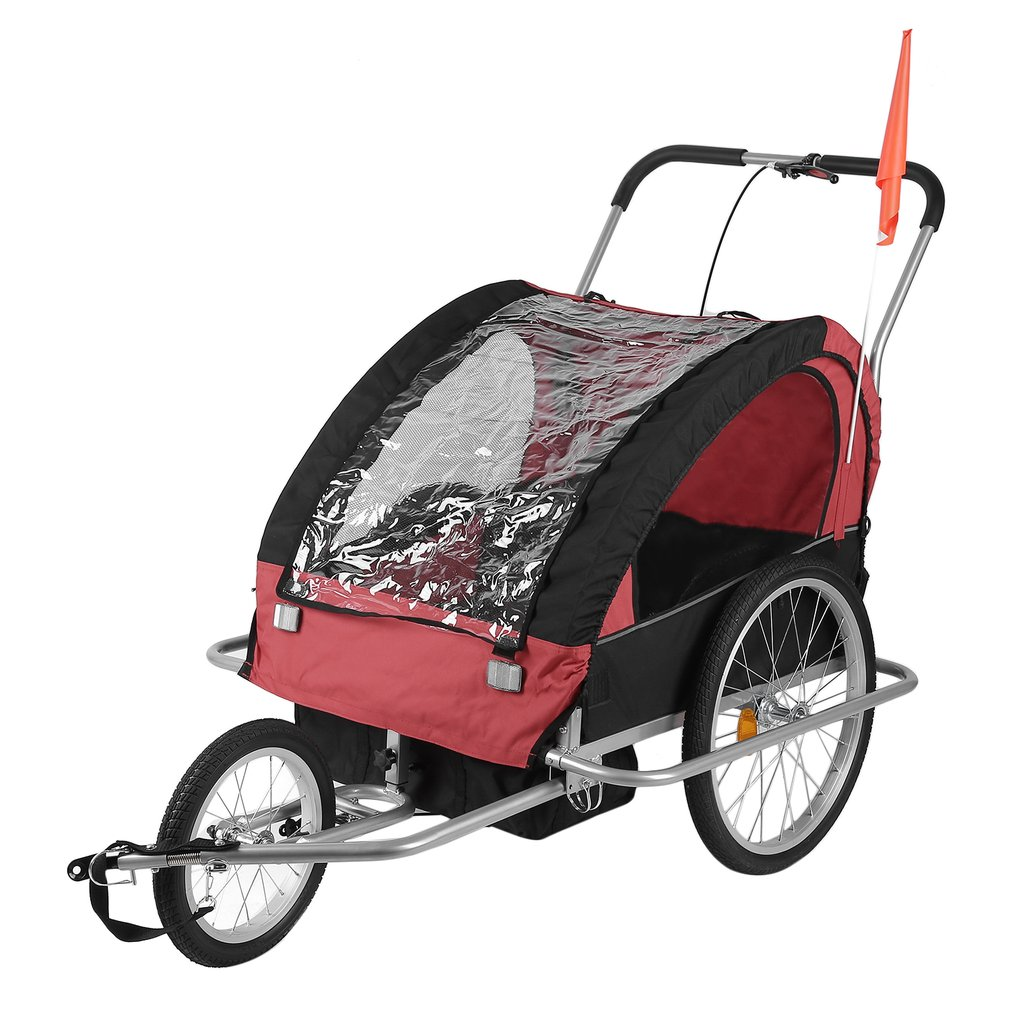 2 In 1 Dual Purpose Bicycle Carrier Infant Children Kids Baby Bike Trailer Jogger Stroller Cart With Storage Bag BT001,black & red