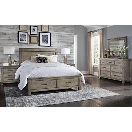Rustic King Storage Bed in Greystone GLPGR5131 A-America Glacier - Rustic King Bed