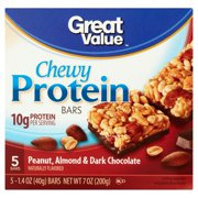 Great Value Peanut, Almond & Dark Chocolate Chewy Protein Bars, 1.4 oz, 5 count