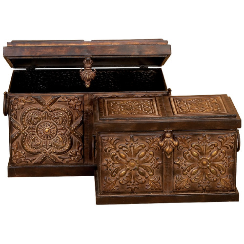 Aspire Rustic Embossed Metal Trunk 2 Piece Set