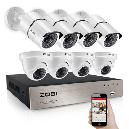 Fps 4 Channel Dvr (ZOSI 1080p HD 8 Channel DVR Video Security System with 4 Bullet and 4 Dome Weatherproof 2.0MP Cameras 100ft IR Night Vision )