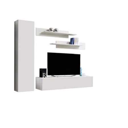 Wall Mounted Floating Modern Entertainment Center Fly G, White, G1