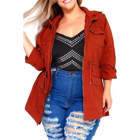 e61e39b792c Genx - Womens Plus Size Fashion Thick Roll up Canvas Zip Up Parka Jacket W  Hood  KJ805 -XL-Rust - Walmart.com