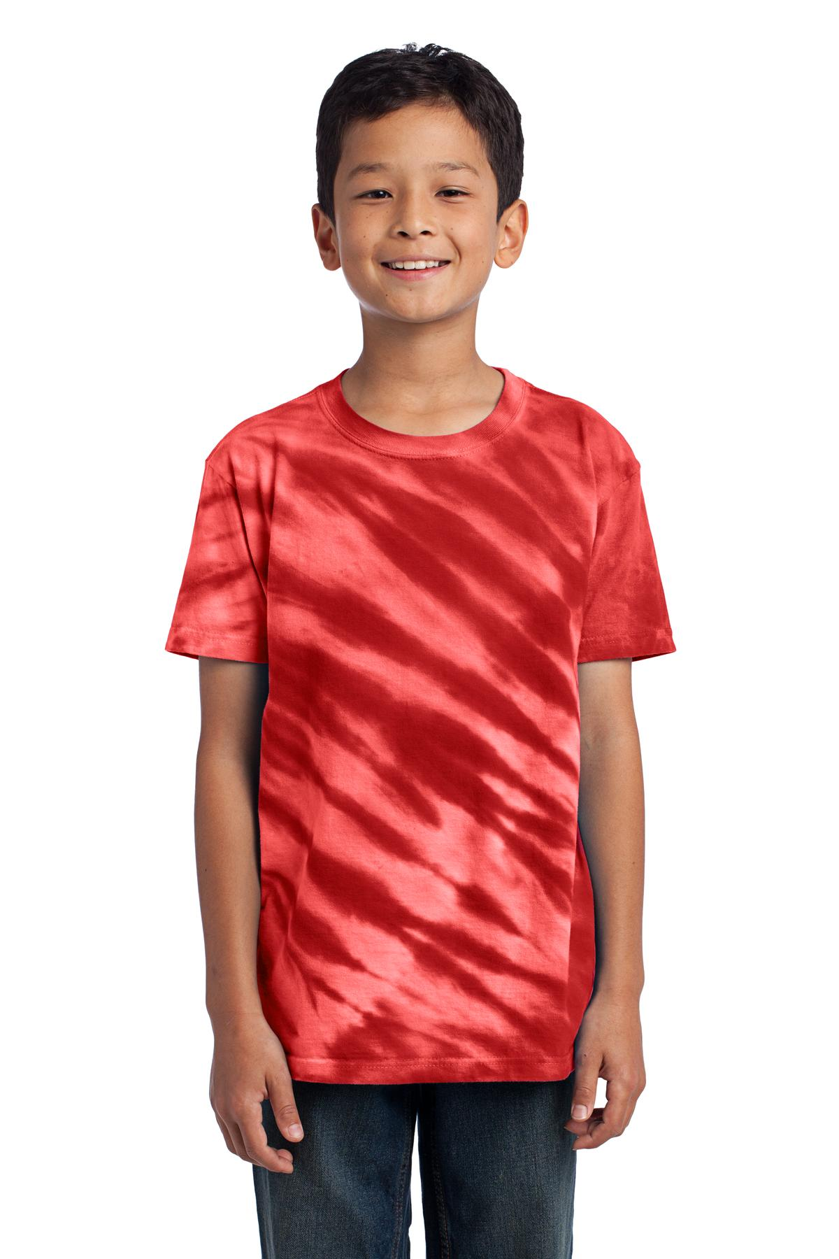 Port & Company Youth Essential Tiger Stripe Tie-Dye Tee. Red. M.