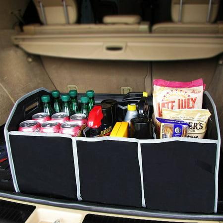 Car Truck Organizer Foldable 3 Compartment SUV Storage Basket Interior Accessory