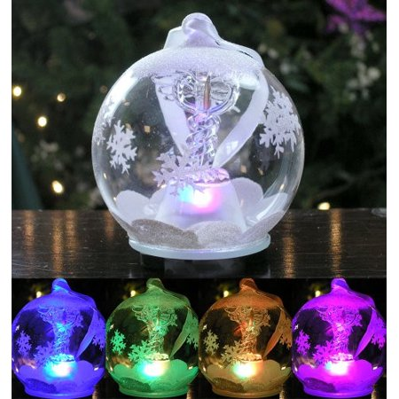 LED Glass Globe Christmas Ornament with Caduceus Hand Painted Glittery Snowflakes and Snow Lighted Color Changing Nurses Day Gift](Snowflake Glass)