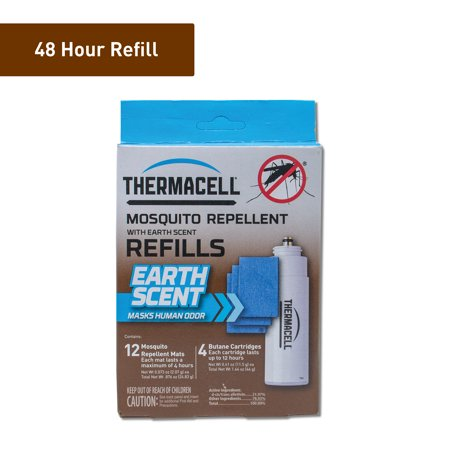 Thermacell Earth Scent Mosquito Repellent Refills, 48-Hours The hunter waits patiently in the tree stand or thoughtfully tracks an animal deep into the woods, giving little thought to the mosquitoes that normally invade the territory. Surrounded by over 4 meters of mosquito protection -- thanks to the handy Thermacell repeller -- the outdoorsperson has the freedom to more fully enjoy the adventure that awaits, whether crouched in a blind or paddling a canoe. Thermacell?s Earth Scent repellent refill mats have an added benefit, in that they not only effectively repel mosquitoes, but they also emit a dirt-like scent that masks human odor. Worry less about spooking game and swatting at mosquitoes and spend more time focusing on the hunt with Thermacell Mosquito Repeller devices and mosquito refill products. Contains 12 Earth Scent repellent mats, each of which lasts up to 4 hours, and 4 fuel cartridges, each lasting 12 hours. Enjoy a total of 48 hours of protection against pesky mosquitoes and gain 48 hours of uninhibited adventure.