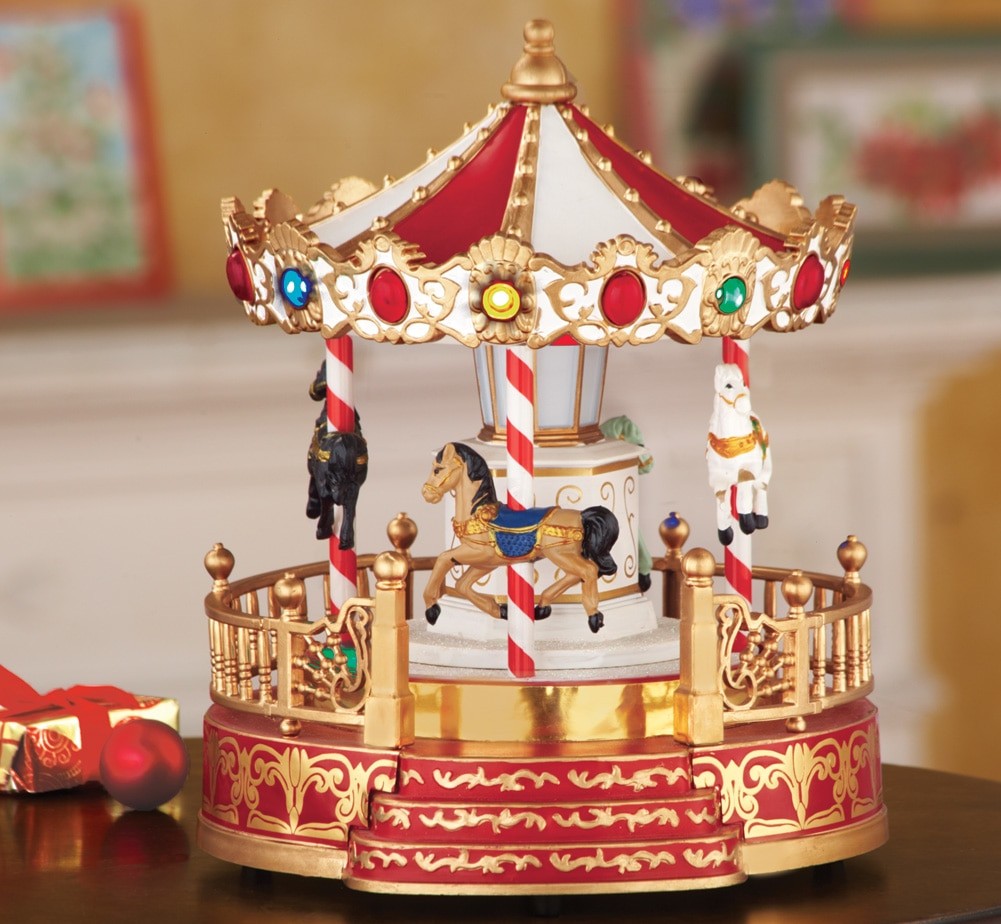 Gentil Christmas Lighted Tabletop Musical Carousel With Metallic Gold Accents, 2  Settings With Music And Movements
