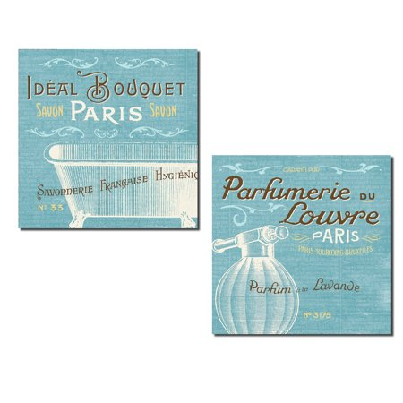 Lovely Cream and Light Blue Paris Carte Postale Spa Bath and Perfume Print Set by Pela Studio; Two 12x12in Poster (Paris Studio)