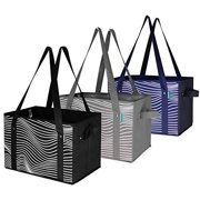 Earthwise Deluxe Collapsible Reusable Shopping Box Grocery Bag Set with Reinforced Bottom Storage Boxes Bins Cubes (Set of 3) (Black/Grey/Navy)
