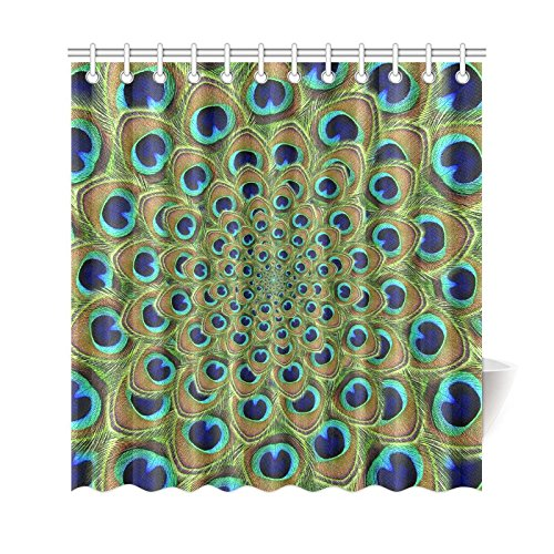 GCKG Peacock Mandala Shower Curtain Bird Tail Feather Polyester Fabric Bathroom Sets 66x72 Inches