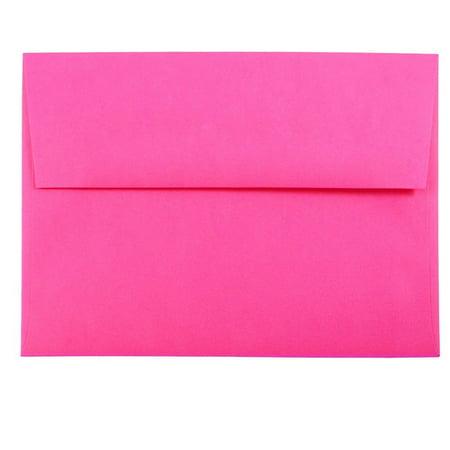 Ultra Thin Envelope - JAM Paper A7 Invitation Envelopes, 5 1/4 x 7 1/4 Green, Brite Hue Ultra Fuchsia Hot Pink, 50/pack