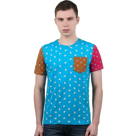 Men Color Block Paisleys Novelty Print T-Shirt Sea Blue L - image 7 of 7