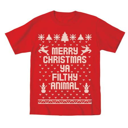 Kids Merry Christmas Ya Filthy Animal Toddler 2T Red Toddler T-Shirt
