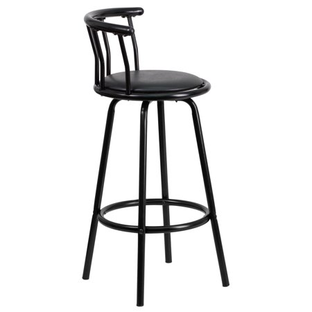 Round Back Swivel Stool - Flash Furniture Crown Back Black Metal Bar Stool with Black Vinyl Swivel Seat