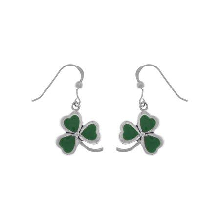 Jewelry Trends Sterling Silver Celtic Shamrock Good Luck Dangle Earrings