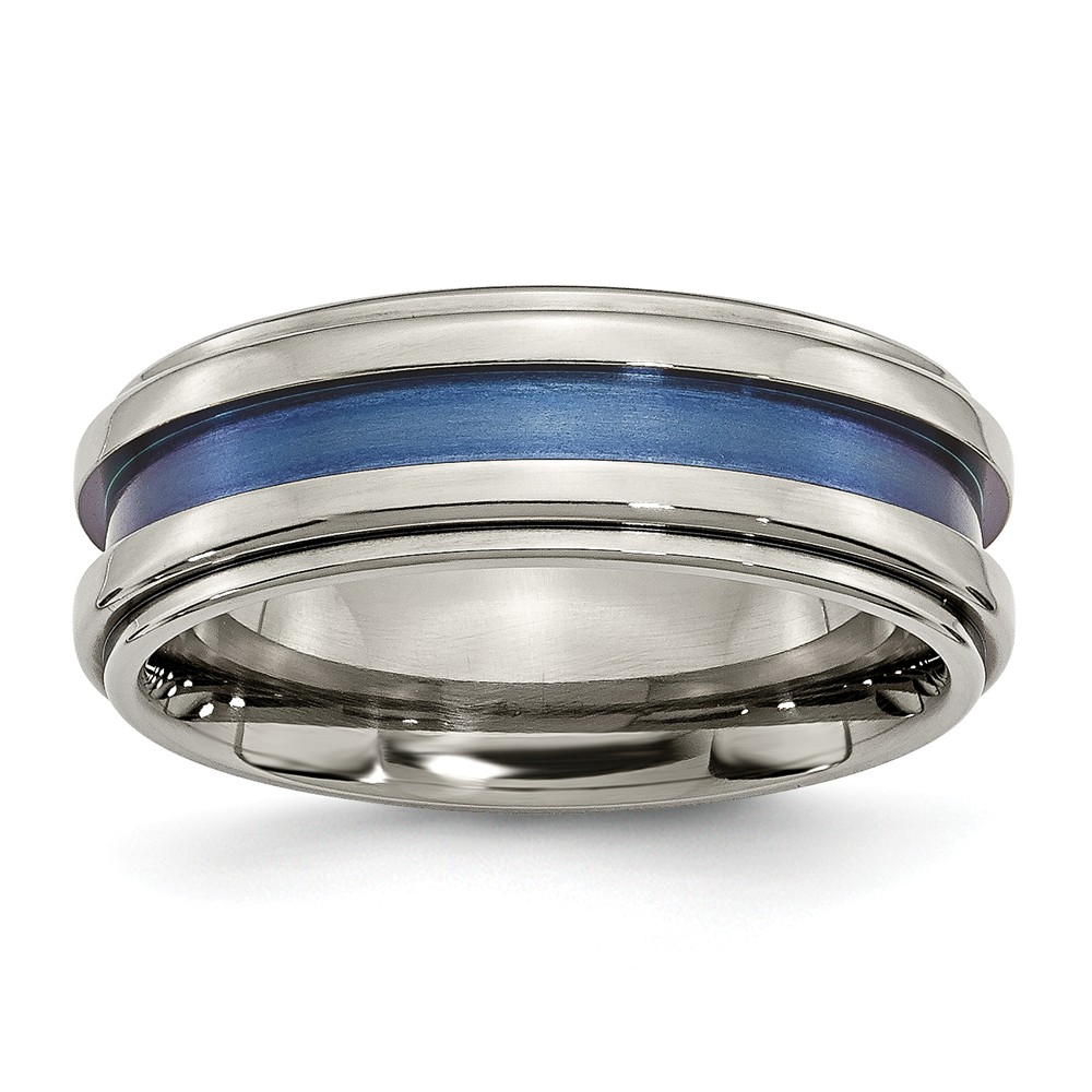 Titanium With Blue Triple Groove 8mm Polished Band Ring - Size 9.5