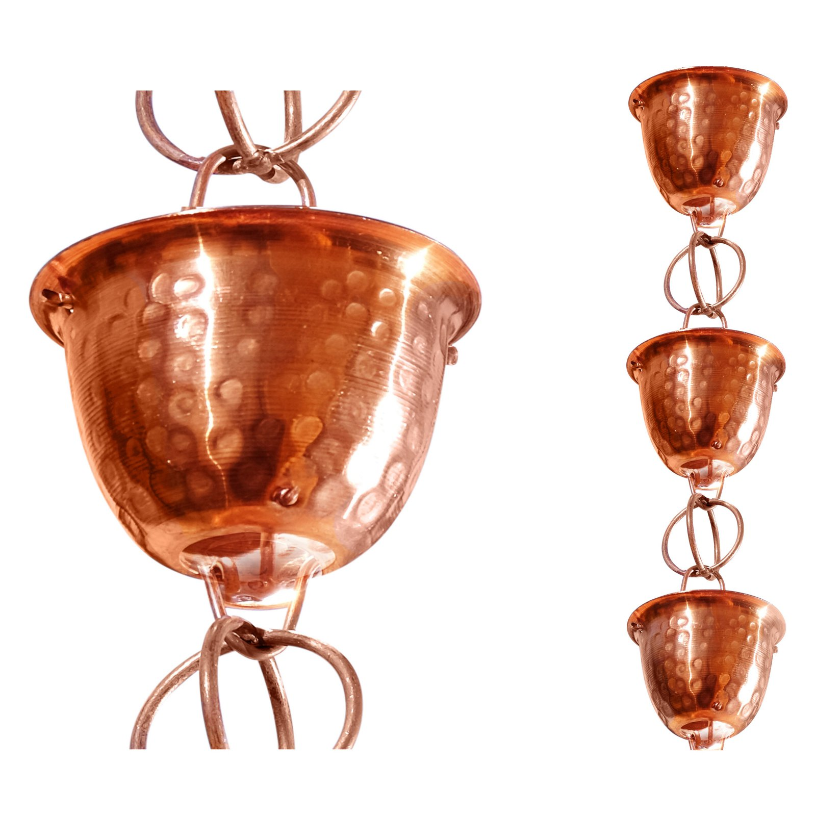 Monarch 3 ft. Pure Copper Hammered Cup Rain Chain Extension